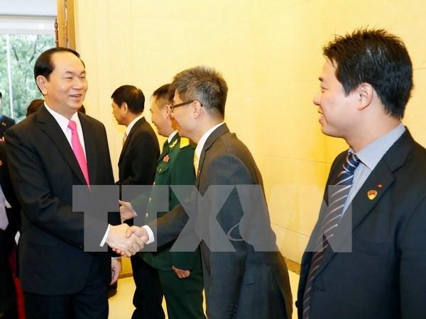 越南国家主席陈大光探访越南驻华大使馆 hinh anh 1