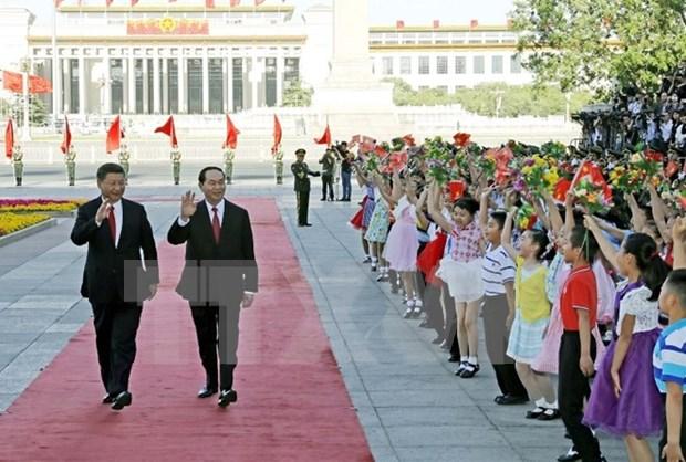 越南国家主席陈大光圆满结束对华国事访问 hinh anh 1