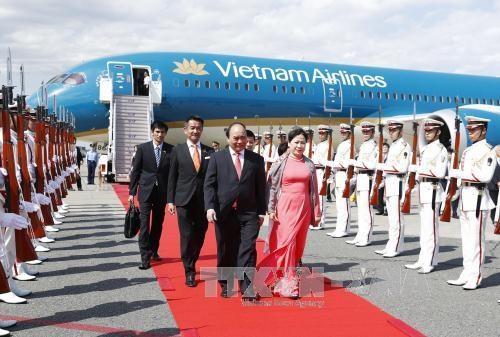 阮春福总理抵达东京 开始对日本进行正式访问 hinh anh 1