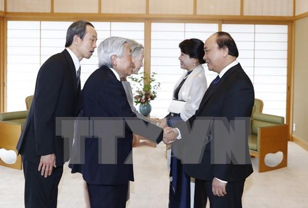 阮春福与夫人会见日本天皇和皇后 hinh anh 1