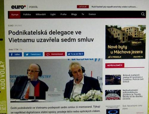 捷克媒体:捷克总统米洛什·泽曼希望捷越两国贸易实现平衡 hinh anh 1