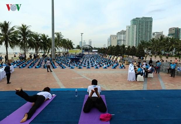数千人参加瑜伽集体表演 庆祝第三次国际瑜伽日 hinh anh 1