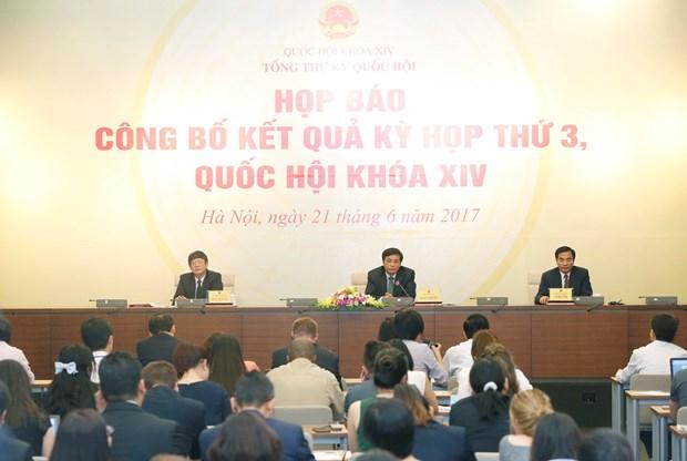 越南第十四届国会第三次会议:通过12项法律和若干决议 hinh anh 1