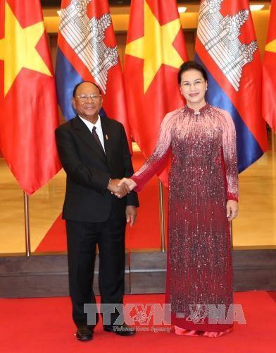 越南国会主席阮氏金银与柬埔寨国会主席韩桑林举行会谈 hinh anh 2