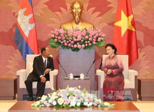 越南国会主席阮氏金银与柬埔寨国会主席韩桑林举行会谈 hinh anh 3