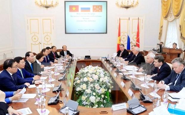 越南国家主席陈大光会见圣彼得堡市市长 圆满结束对俄罗斯的访问 hinh anh 2