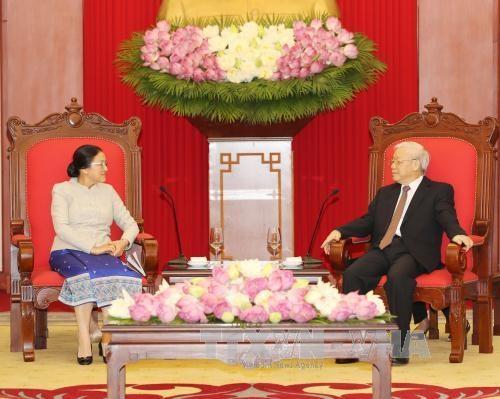 越共中央总书记阮富仲会见老挝国会主席巴妮•雅陶都 hinh anh 2