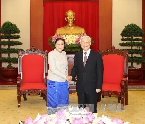 越共中央总书记阮富仲会见老挝国会主席巴妮•雅陶都 hinh anh 1