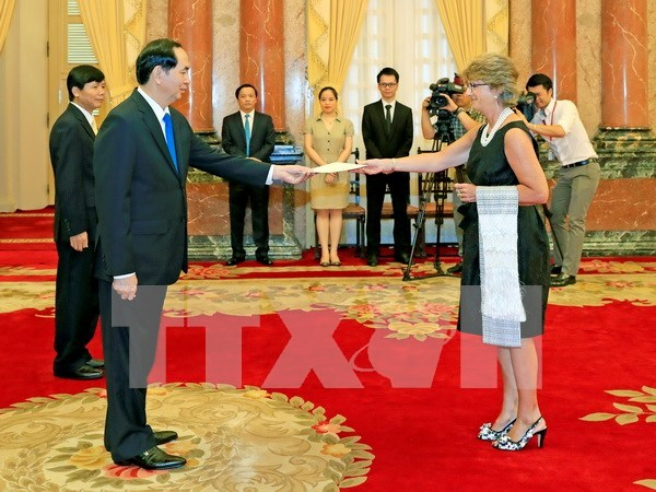 陈大光主席接受西班牙和也门新任驻越大使递交国书 hinh anh 1