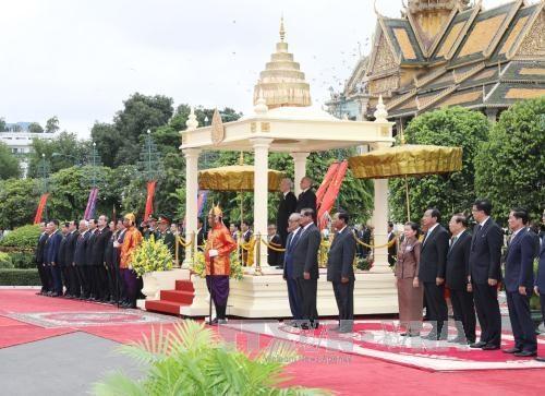 越共中央总书记一行访柬受到热烈欢迎 hinh anh 1