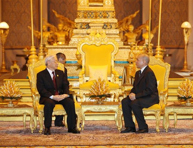 越共中央总书记阮富仲与柬埔寨国王诺罗敦·西哈莫尼举行会谈 hinh anh 1