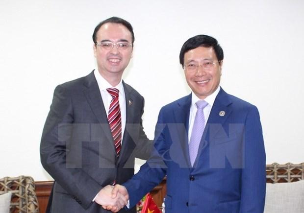 第50届东盟外长会议:越南政府副总理兼外长范平明分别与各国外长举行双边会晤 hinh anh 3