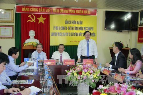越南政府常务副总理张和平:向国际朋友宣传阮朝木刻板 hinh anh 1