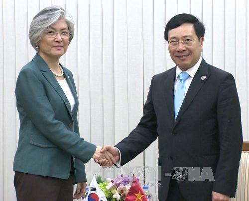 第50届东盟外长会议: 越南外长会见日本和韩国代表团团长 hinh anh 1