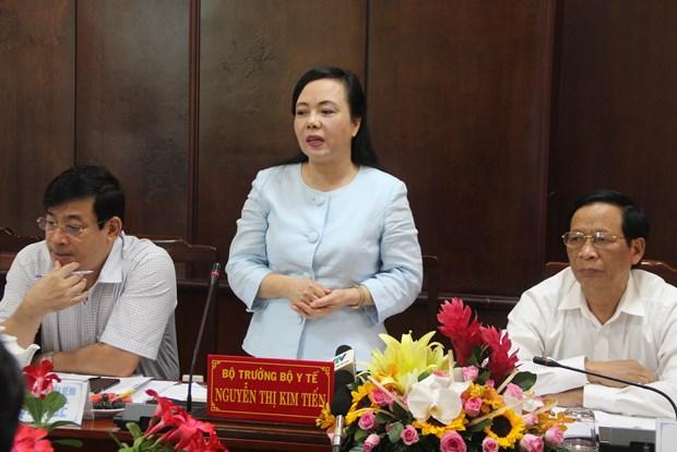 越南卫生部部长与隆安省领导举行工作会谈 hinh anh 1