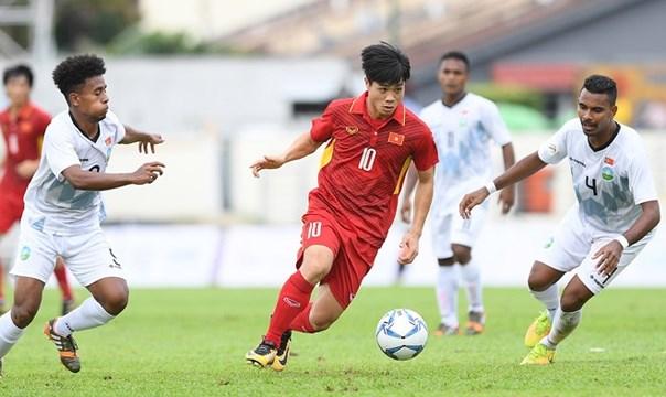 第29届东南亚运动会男足比赛:越南队以4比0击败东帝汶队 hinh anh 1