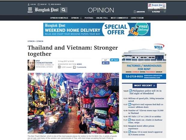 泰国媒体高度评价泰越两国关系的发展展望 hinh anh 1