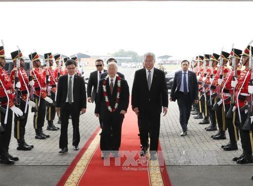 越共中央总书记阮富仲已抵达雅加达 开始对印尼进行正式访问 hinh anh 1