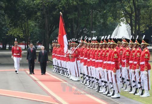 印尼总统举行隆重仪式欢迎阮富仲总书记到访 hinh anh 2