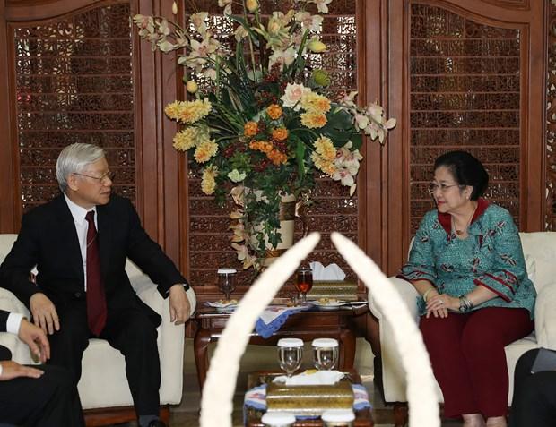 越共中央总书记阮富仲会见印度尼西亚斗争民主党主席梅加瓦蒂·苏加诺普特丽 hinh anh 1