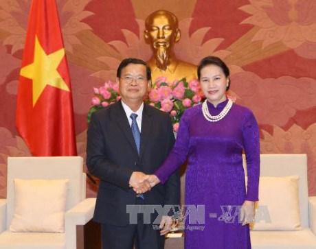越南国会主席阮氏金银会见老挝和平与团结委员会代表团 hinh anh 1
