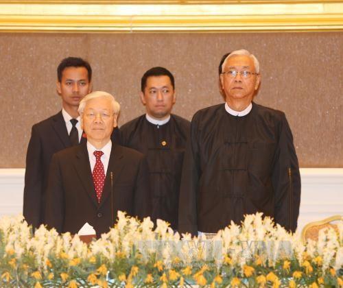 越缅领导人同意将两国关系提升为全面合作伙伴关系 hinh anh 1