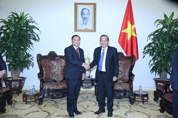 张和平副总理会见老挝建国阵线副主席禅塔翁 hinh anh 1
