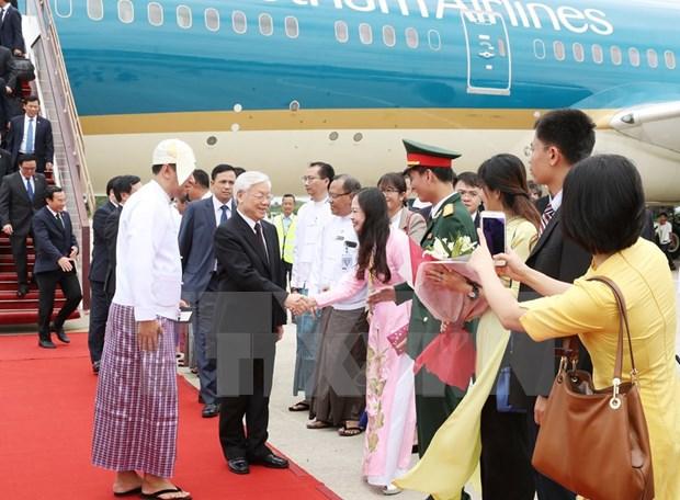 越共中央总书记阮富仲开始对缅甸进行国事访问 hinh anh 1