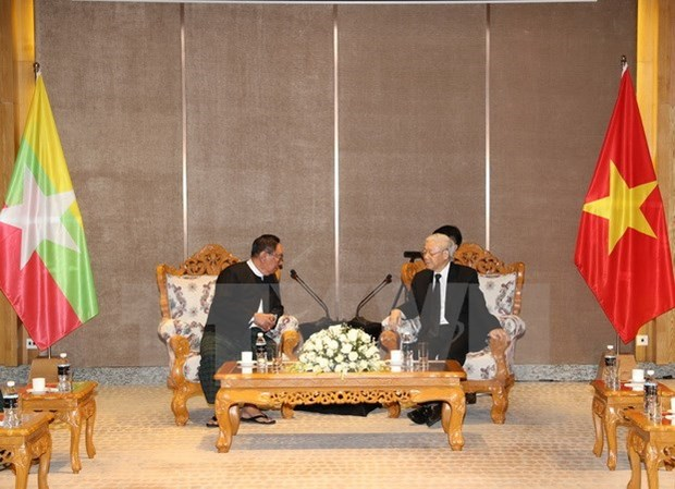 越共中央总书记阮富仲会见缅甸全国民主联盟领导人 hinh anh 1