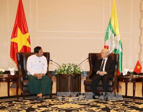 阮富仲总书记会见缅甸联邦巩固与发展党主席丹泰 hinh anh 1