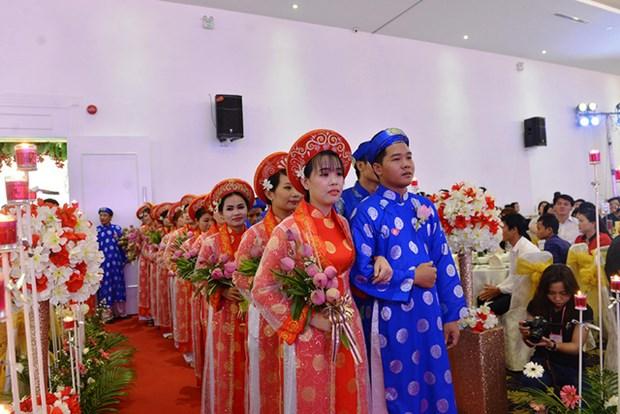 胡志明市100对青年工人集体婚礼在国庆日举行 hinh anh 2
