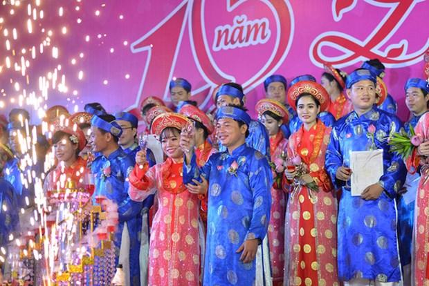 胡志明市100对青年工人集体婚礼在国庆日举行 hinh anh 3