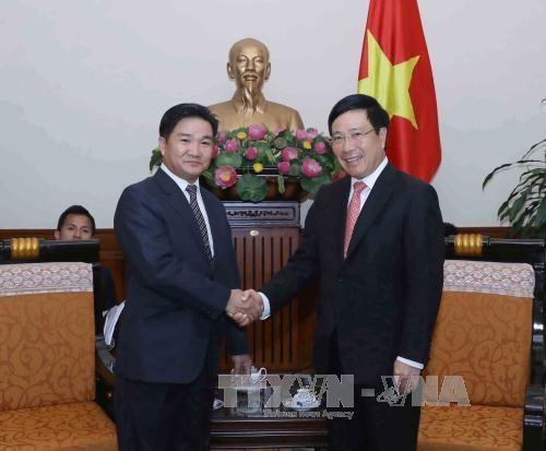 越南政府副总理兼外交部长范平明会见老挝人民革命青年团高级代表团 hinh anh 1
