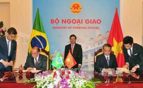 越南政府副总理兼外交部长范平明与巴西外交部长举行会谈 hinh anh 2