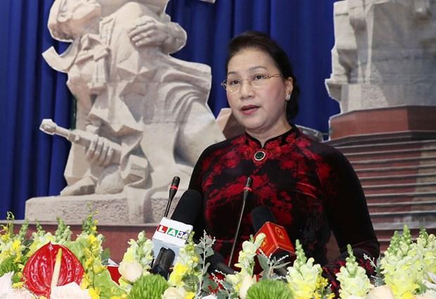 国会主席阮氏金银出席隆安省一级独立勋章授勋仪式 hinh anh 1
