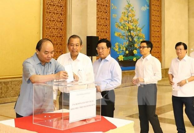 政府办公厅为遭第十号台风影响的中部灾民捐款 hinh anh 1