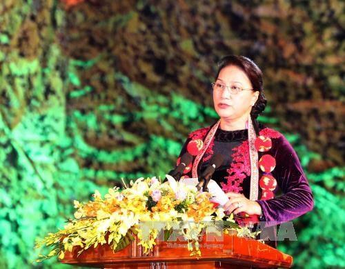 国会主席阮氏金银出席首次全国瑶族文化节开幕式 hinh anh 1