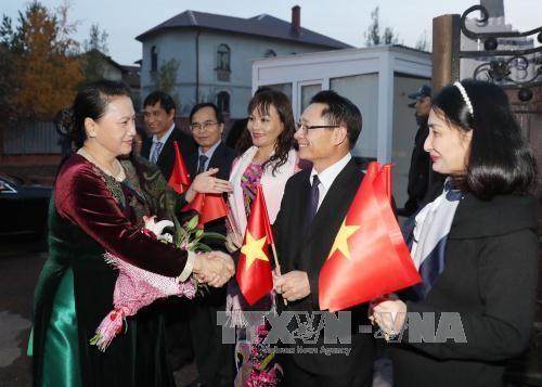越南国会主席阮氏金银抵达阿斯塔纳 与旅哈萨克斯坦越侨会面 hinh anh 2