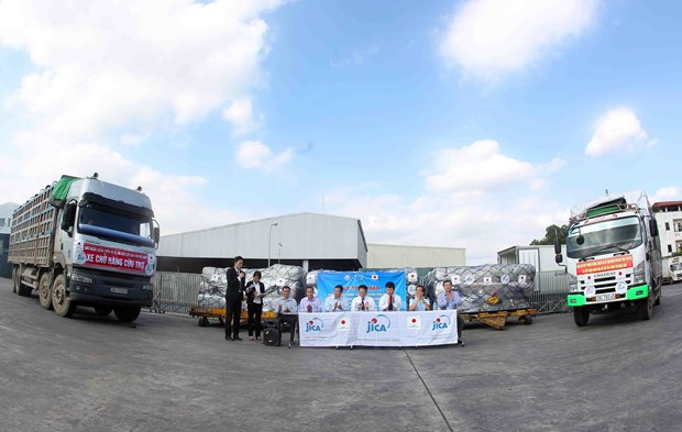 越南接受由日本政府提供的紧急援助物资 hinh anh 1