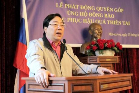 越南驻俄罗斯大使馆发起捐款活动帮助国内洪灾灾民 hinh anh 1
