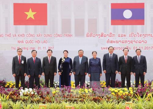 越老建交55周年:由越南援建的老挝国会大厦项目破土动工 hinh anh 2