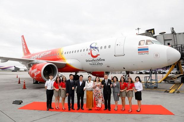 泰国越捷航空印有泰国旅游标志的第二架飞机正式现身 hinh anh 1