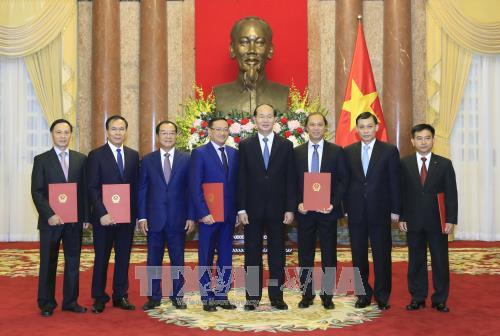 国家主席陈大光向5位外交人员授予大使衔 hinh anh 3