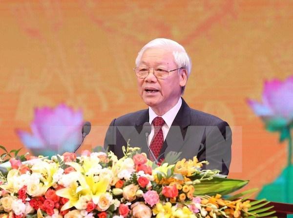 越共中央总书记阮富仲在十月革命胜利100周年纪念典礼上发表讲话 hinh anh 1