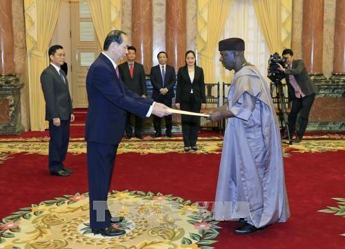 国家主席陈大光接受三国新任驻越大使递交的国书 hinh anh 1