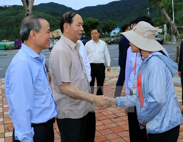 国家主席陈大光检查岘港市第十二号台风后恢复重建工作 hinh anh 1