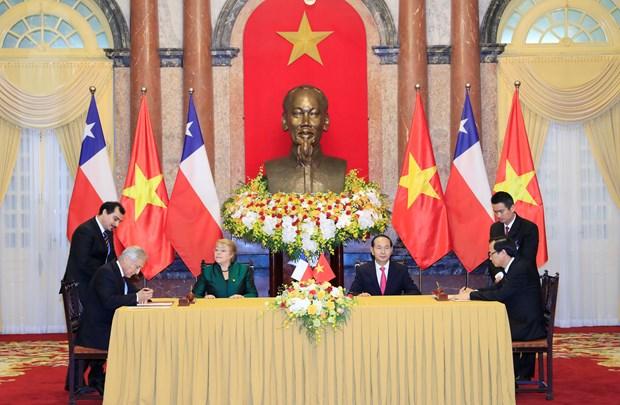 国家主席陈大光与智利总统米歇尔·巴切莱特召开联合新闻发布会 hinh anh 2