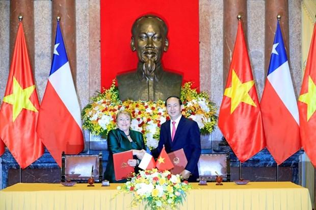 国家主席陈大光与智利总统米歇尔·巴切莱特举行会谈 hinh anh 1