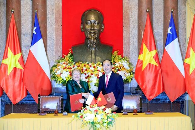 国家主席陈大光与智利总统米歇尔·巴切莱特召开联合新闻发布会 hinh anh 1