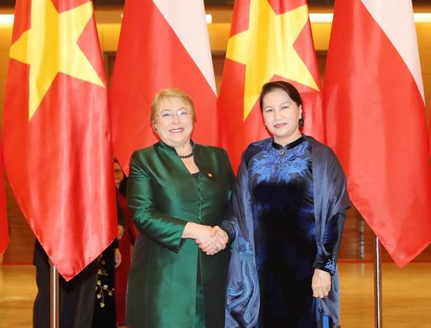越南国会主席阮氏金银会见智利总统米歇尔·巴切莱特·赫里亚 hinh anh 1